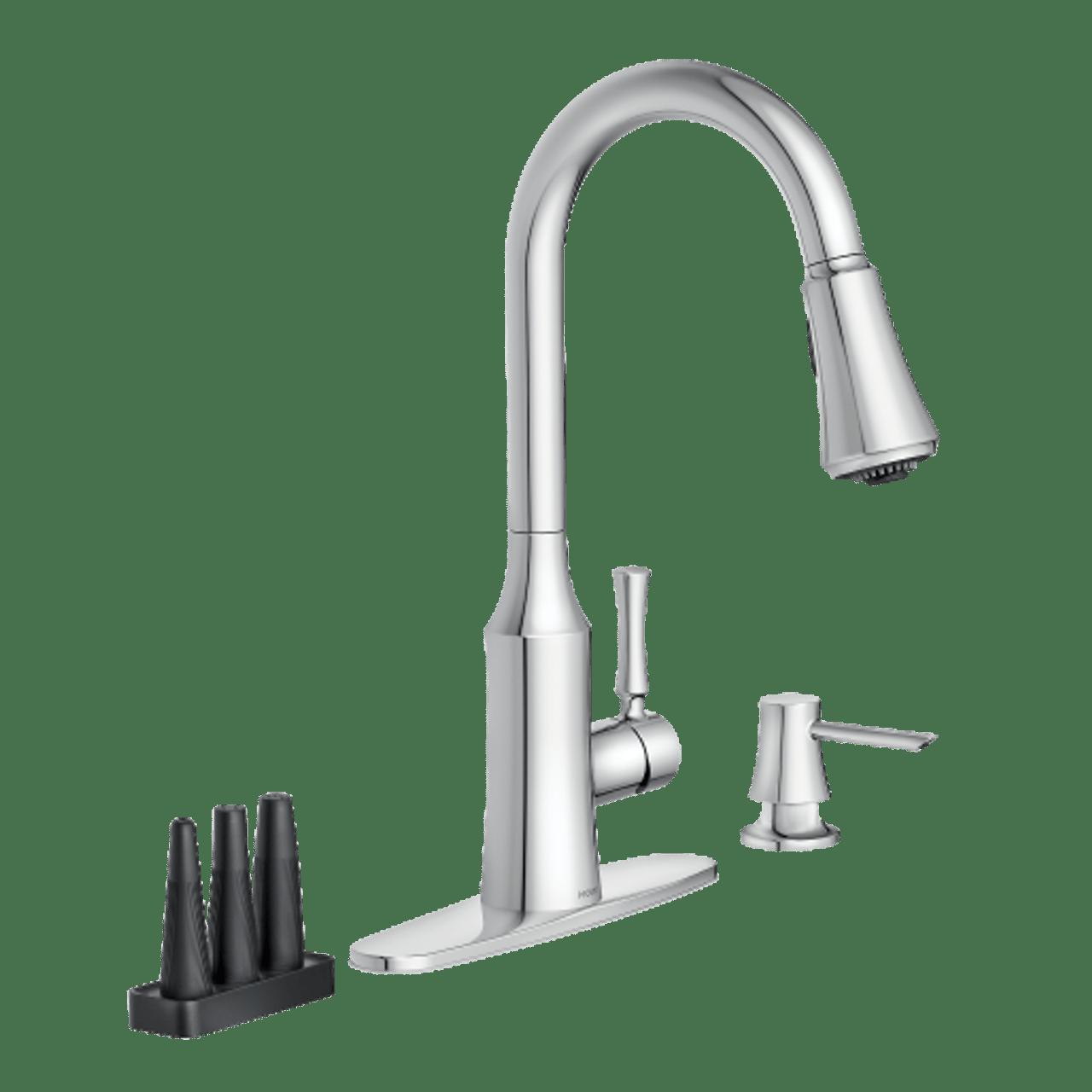 moen venango pulldown kitchen faucet with power clean attachments chrome