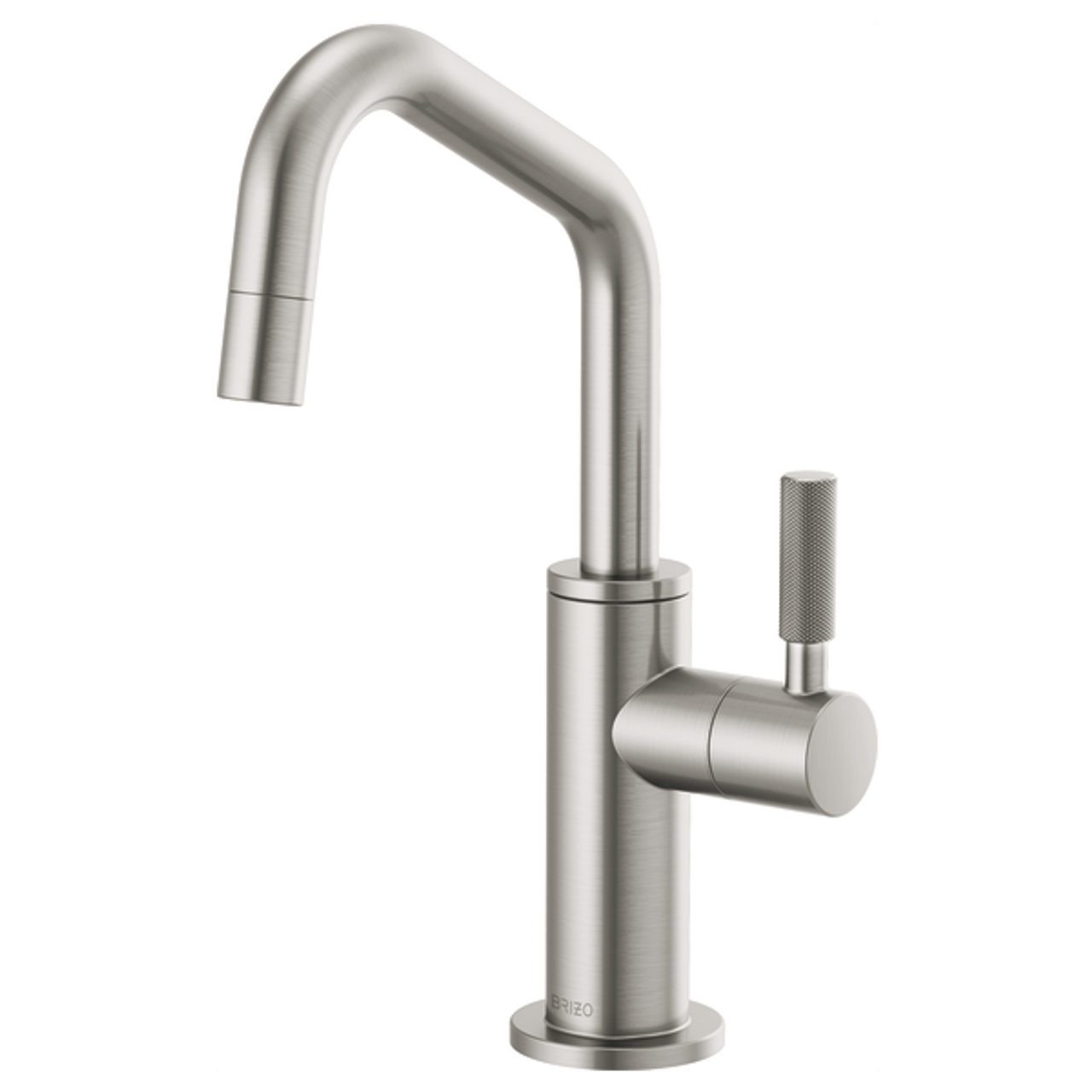 brizo litze beverage faucet with angled spout and knurled handle in stainless