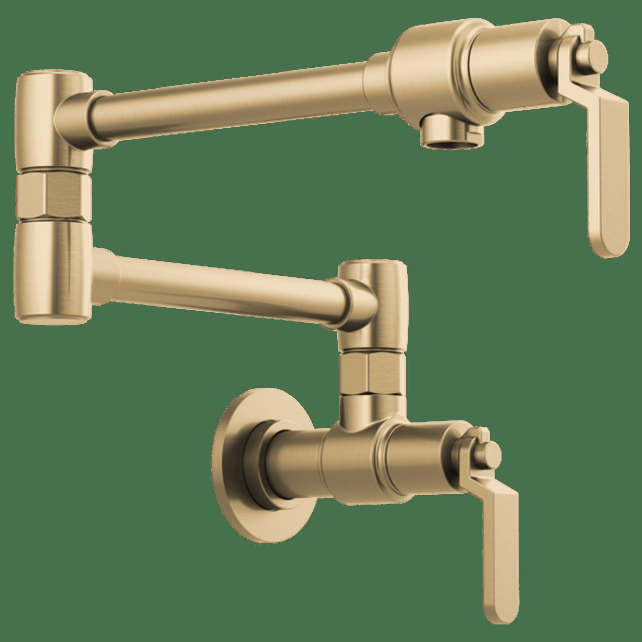 brizo litze litze wall mount pot filler with industrial handle in luxe gold