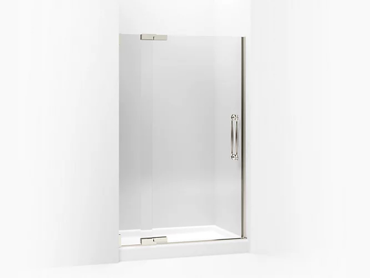 kohler finial pivot shower door 72 1 4 h x 45 1 4 47 3 4 w with 1 2 in crystal clear glass with brushed nickel frame