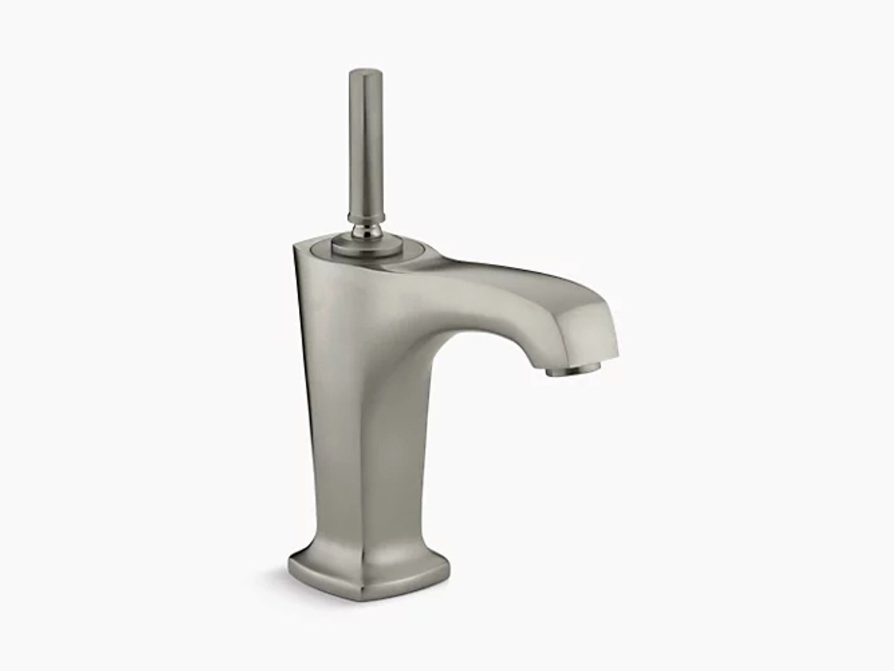 kohler margaux single hole bathroom sink faucet with 5 3 8 spout and lever handle in vibrant brushed nickel