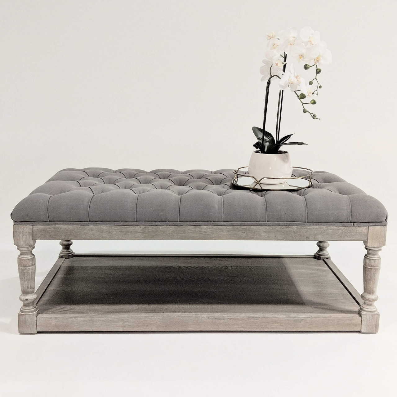 hamptons style ottoman coffee table tufted french linen button chesterfield whitewash oak rectangle grey