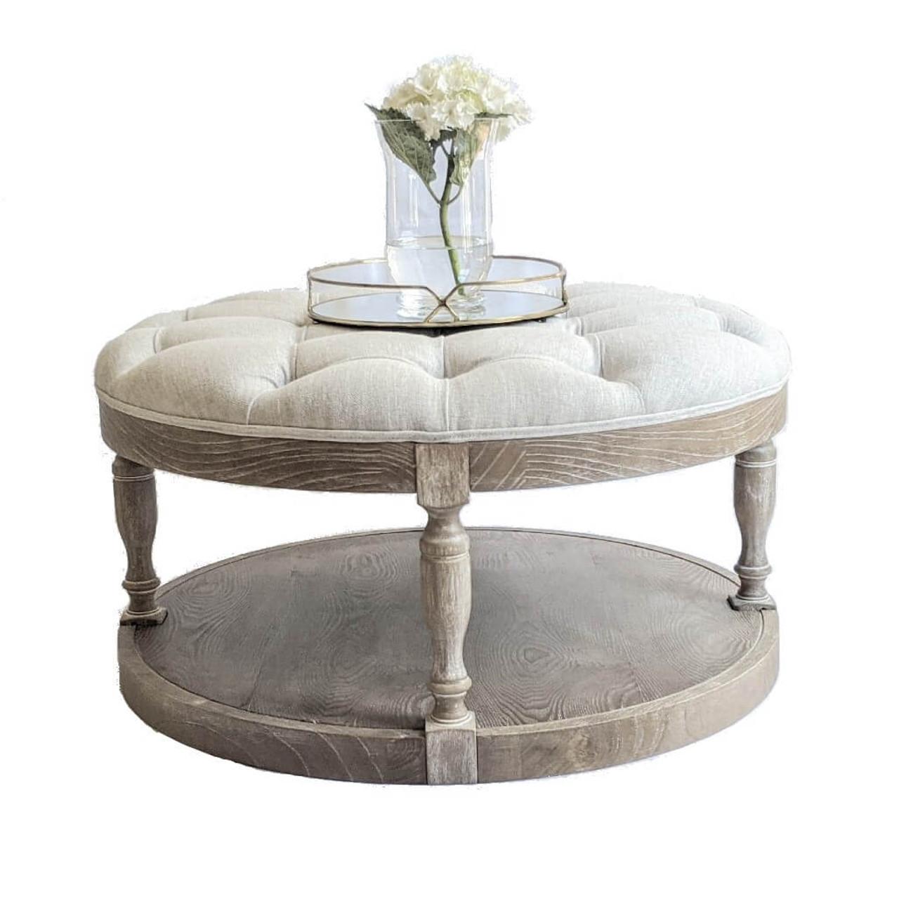 hamptons round coffee table tufted ottoman whitewash oak oatmeal linen