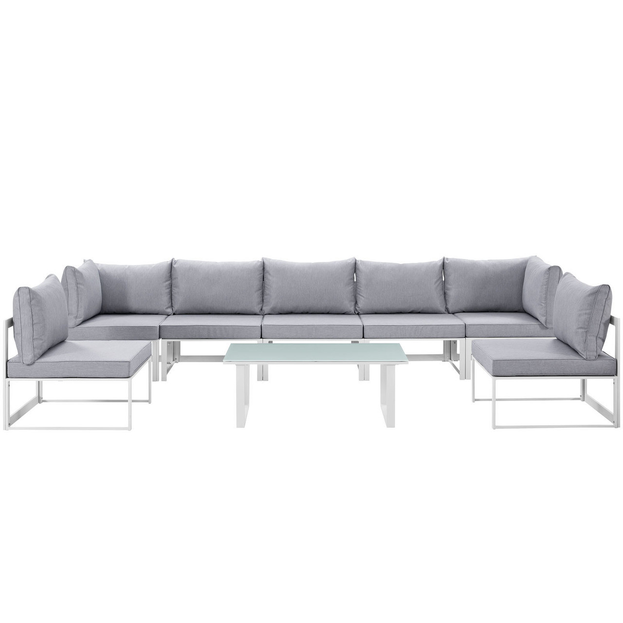fortuna 8 piece outdoor patio sectional sofa set white grey fabric steel