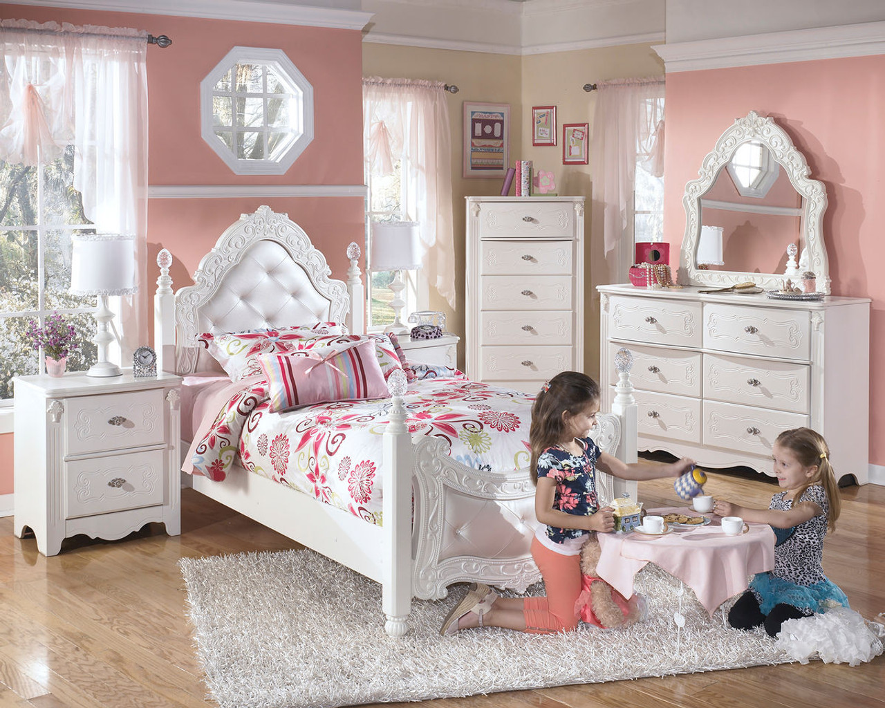 exquisite white 4 pc dresser french style mirror twin padded poster bed