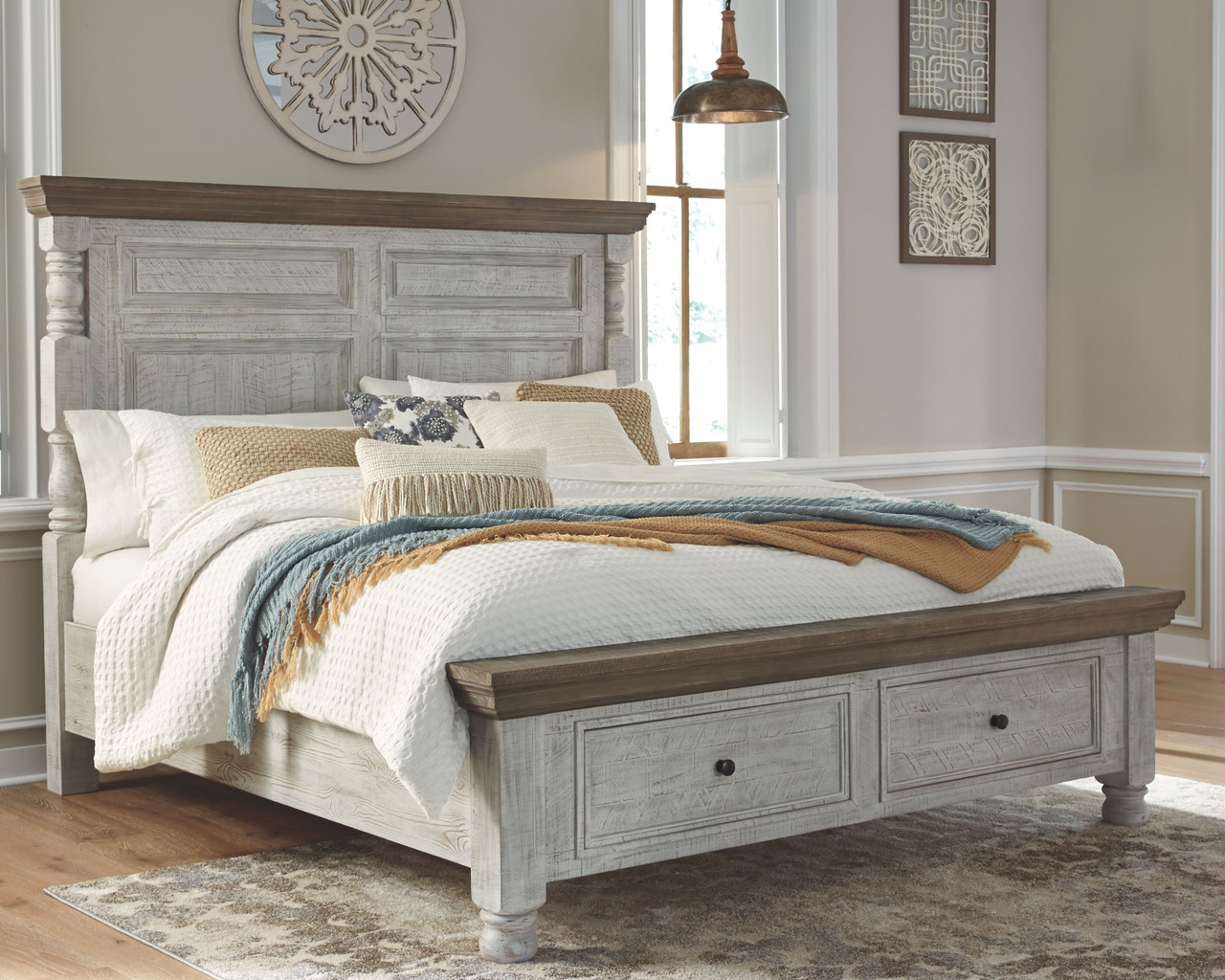 havalance white gray california king poster bed with storage
