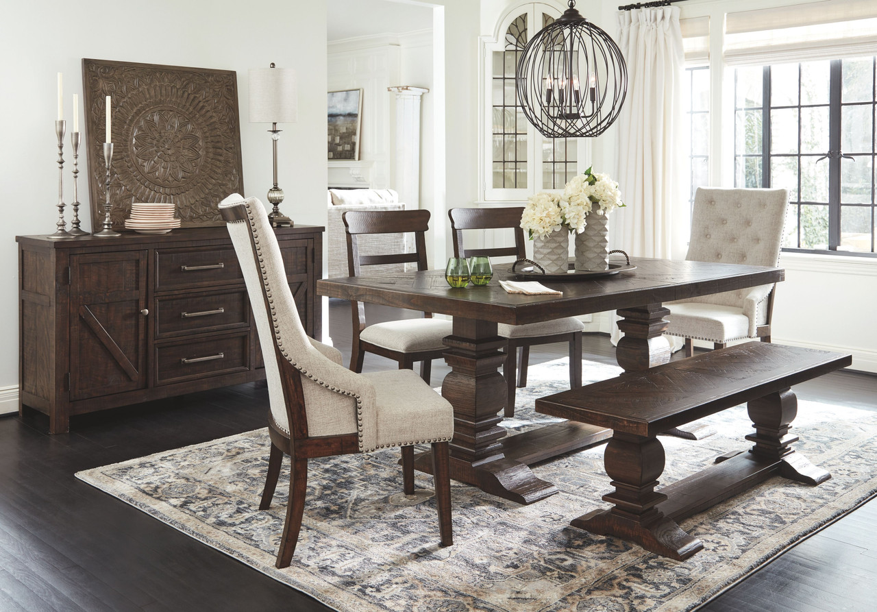 hillcott dark brown 7 pc rectangular extension table 2 upholstered side chairs 2 upholstered arm chairs bench