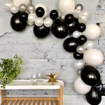 Balloon Garland Kit Black White And Gold 90pcs Party S R Us