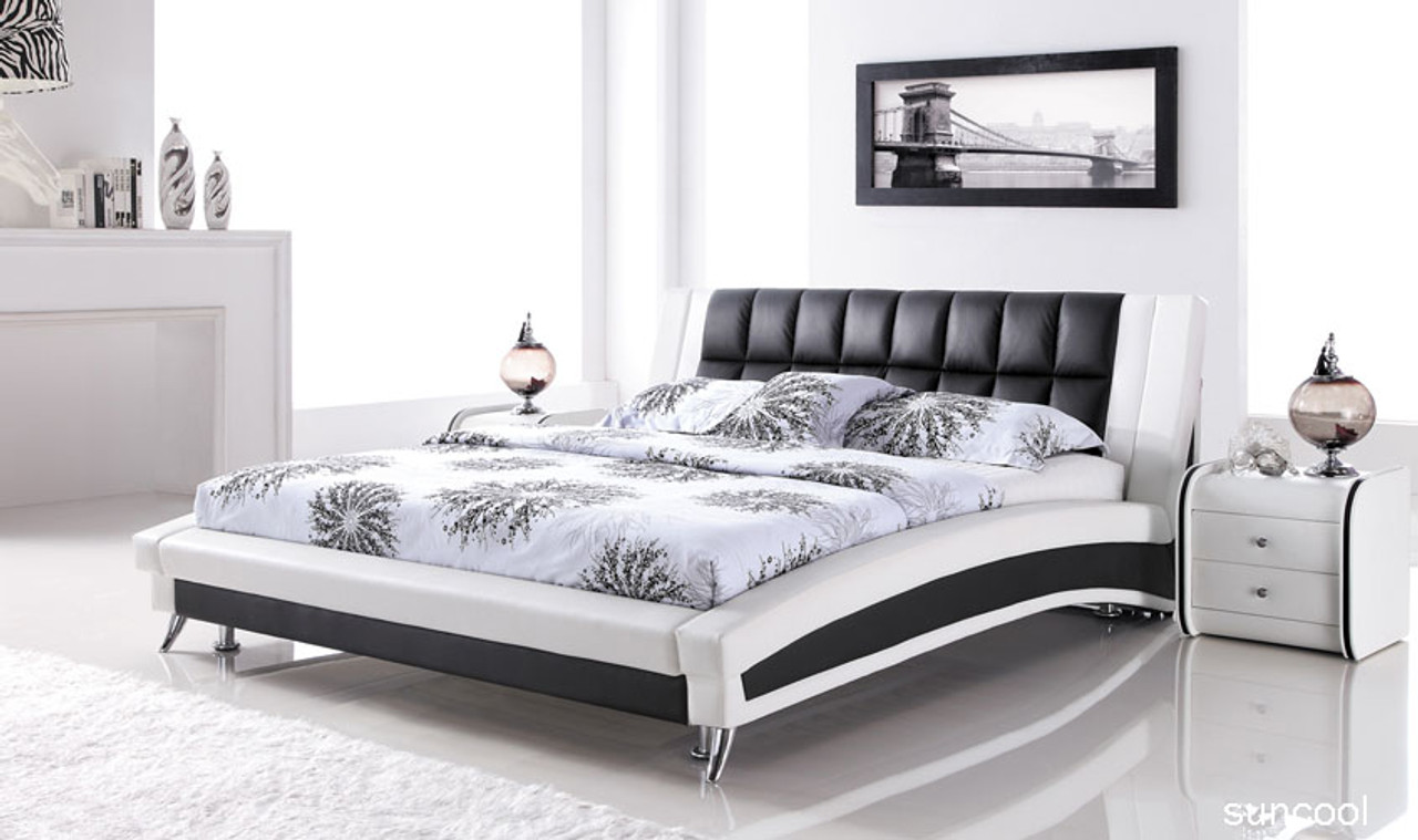 Leather Queen Size Bed White Black