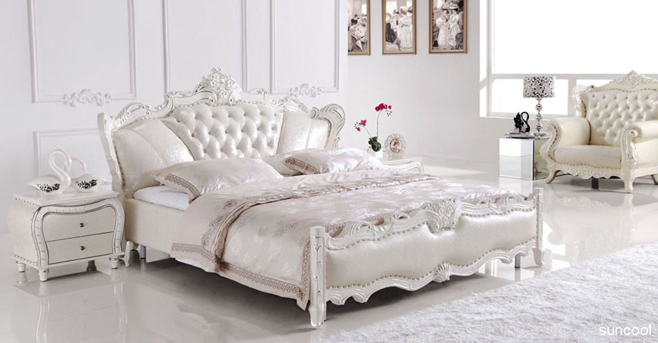 Europe Style Leather King Size Bed Luxury But Affortable Furniture