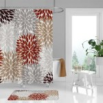 Dahlia Shower Curtain And Bath Mat In Red Tan Grey And Brown