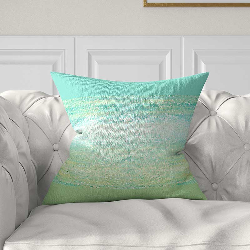 abstract throw pillow cover for couch mint green and aqua blue cushion