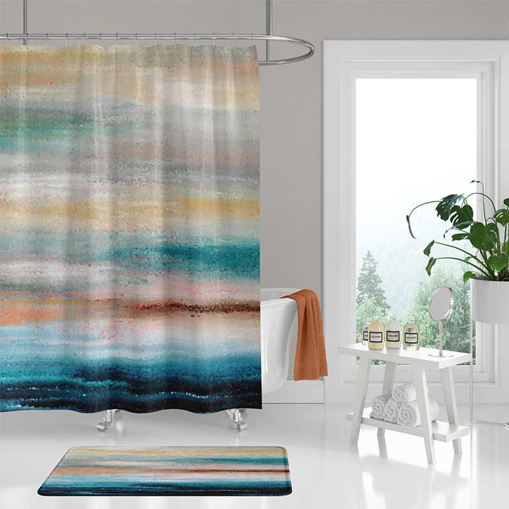 abstract nautical shower curtain bath mat coastal decor in teal and gray