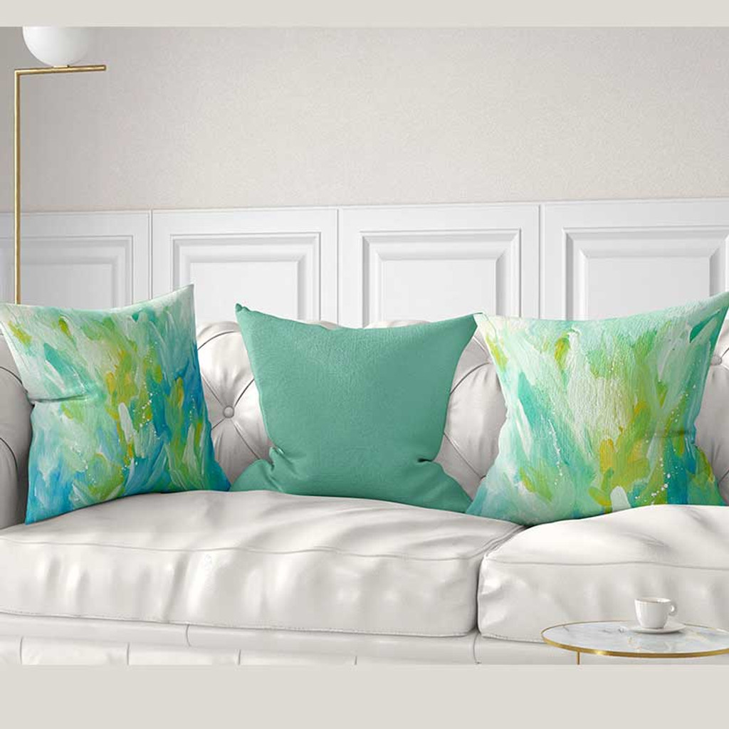 mint green blue yellow throw pillow covers abstract art cushion covers