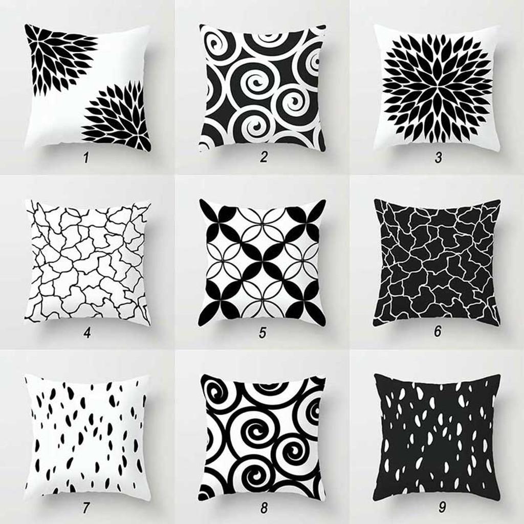 decorative cushion covers geometric black white pillow cases