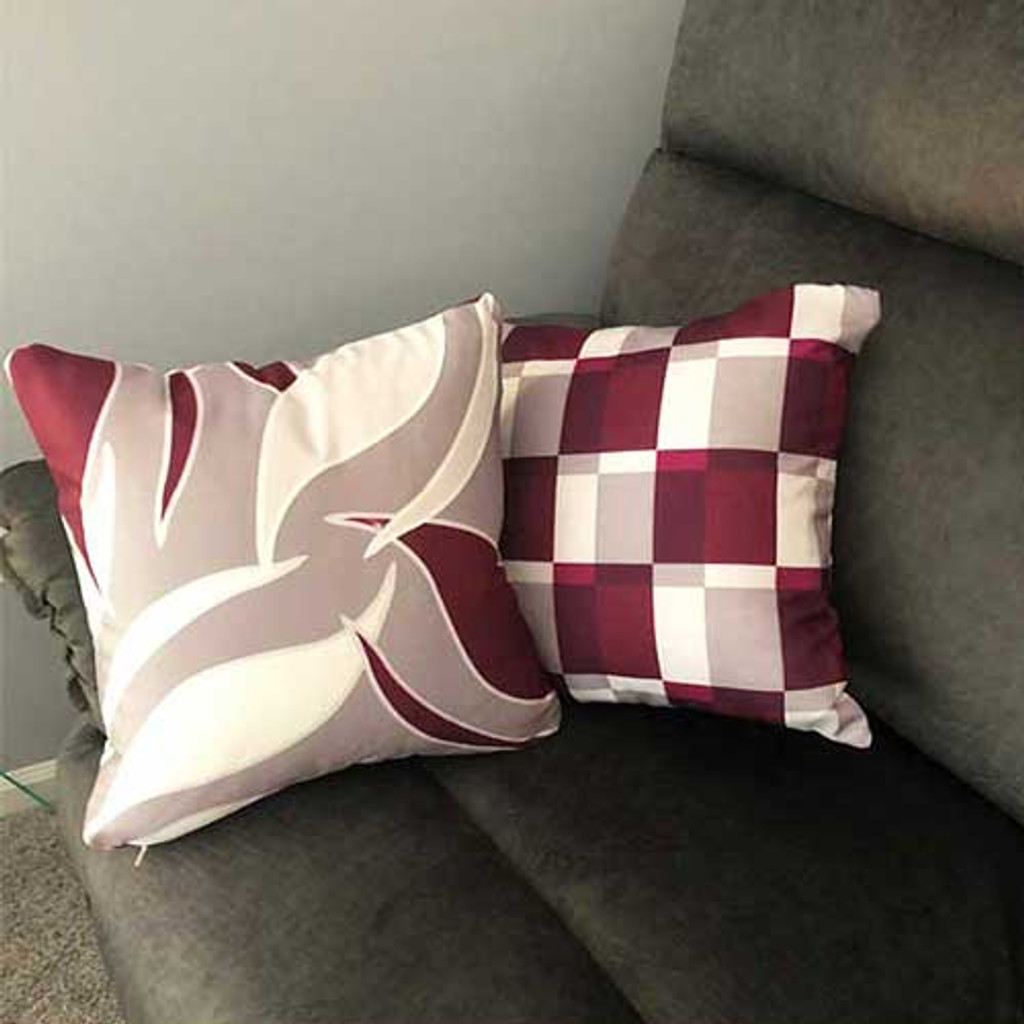 burgundy wine beige gray decorative pillow covers geometric floral throw pillow case