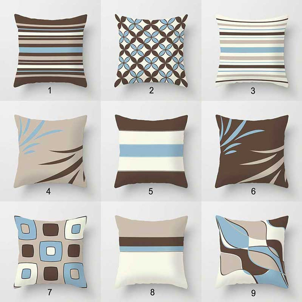 blue brown decorative pillow covers geometric pillows for sofa