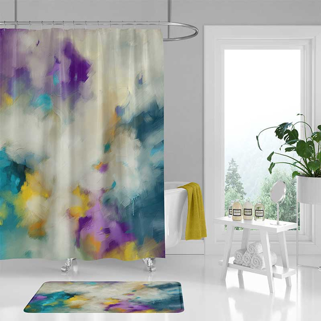 modern bath curtain shower curtain with abstract print teal purple yellow