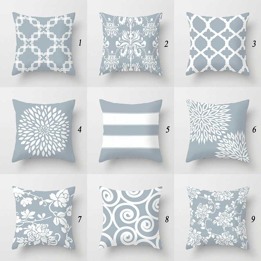 designer pillow covers geometric floral damask patterns pale blue gray white