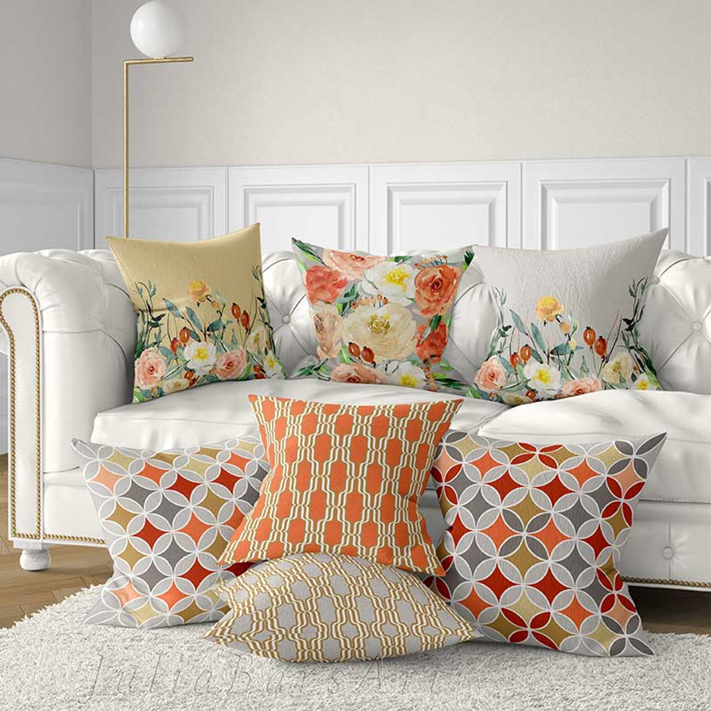 floral decorative cushion covers pillow covers with roses red yellow gray