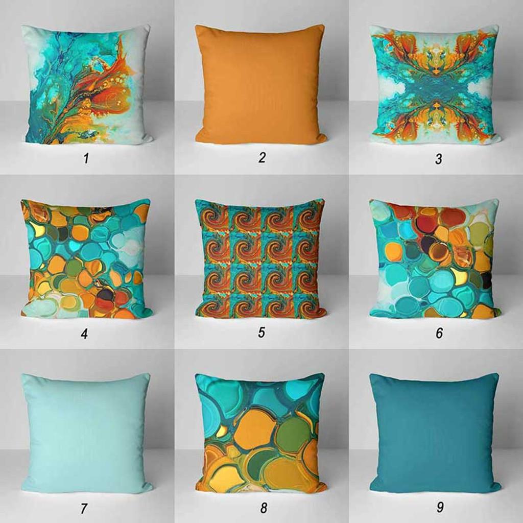 teal orange green outdoor pillow covers patio pillow case abstract design