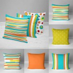 Bright Outdoor Pillow Covers Stripes Polka Dots Green Yellow Orange Teal