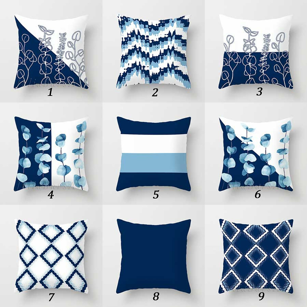 blue white throw pillow covers floral and geometric toss pillow case
