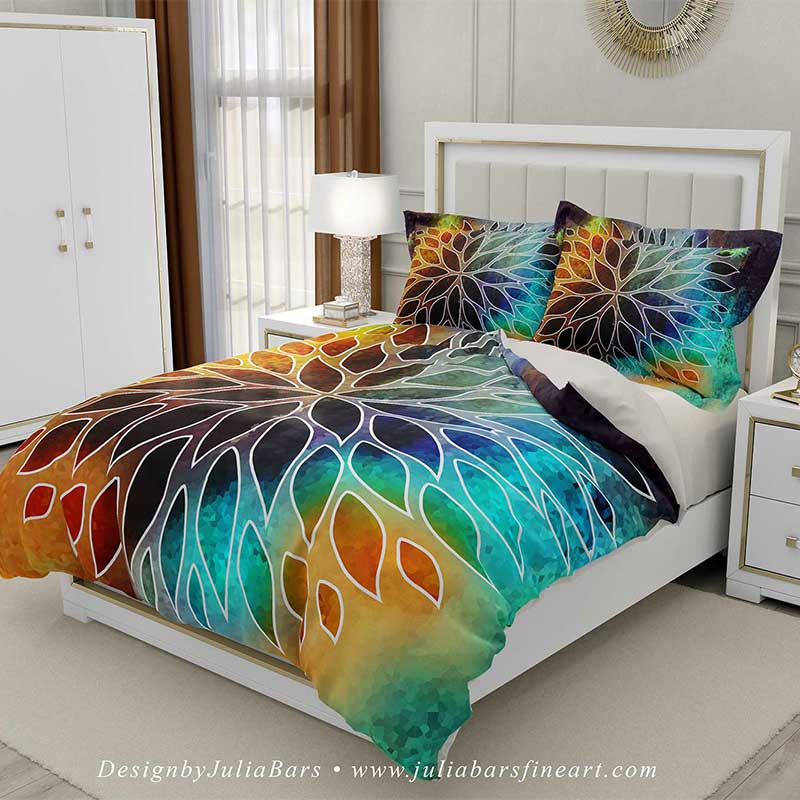 floral duvet cover pillow shams in teal purple and orange