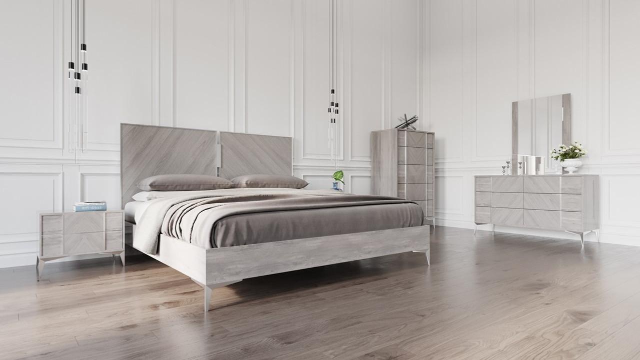 nova domus alexa italian modern grey king size bedroom set
