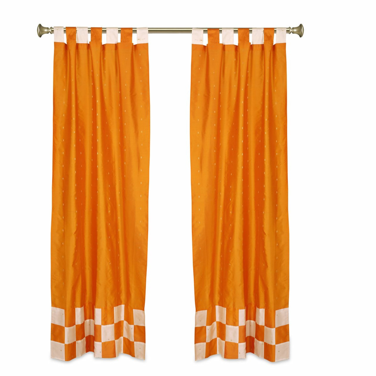 https www indianselections com window dressing bohemian curtains 2 eclectic orange indian check sari curtains tab top drapes