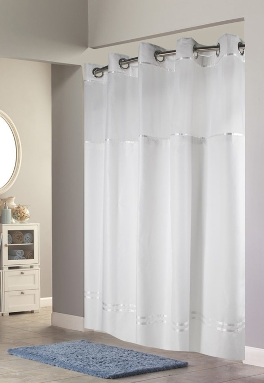 escape hookless shower curtain with it s a snap liner