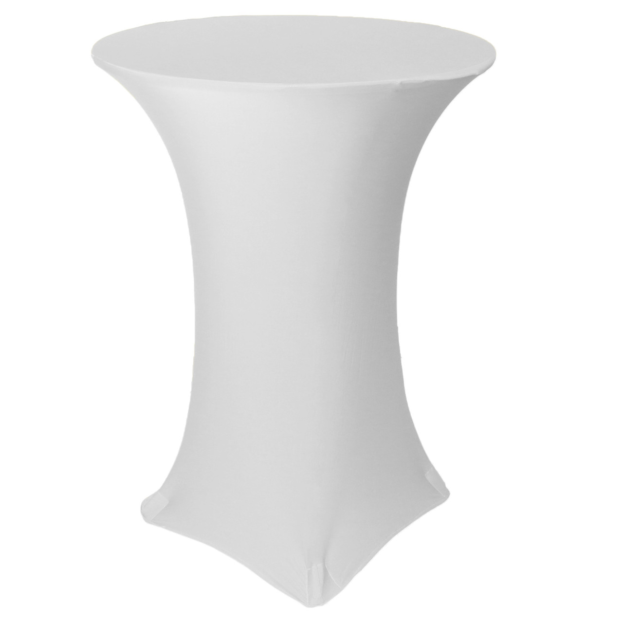 30 inch highboy cocktail round stretch spandex table cover white