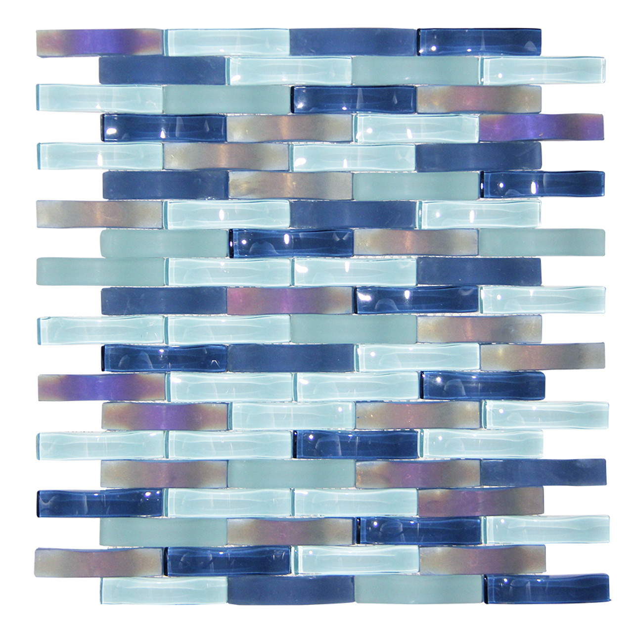 ripple stream blue wavy mosaic glass tile