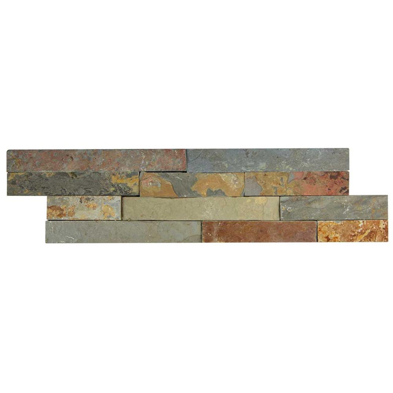 pacific slim brick multi stone tile box of 3 5 sq ft
