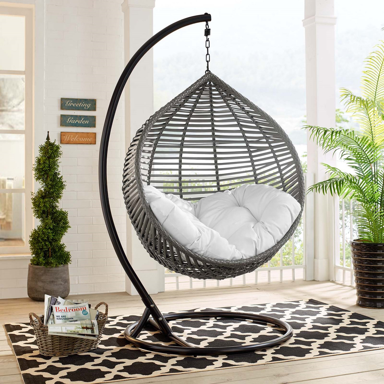 modway garner teardrop outdoor patio swing chair gray white