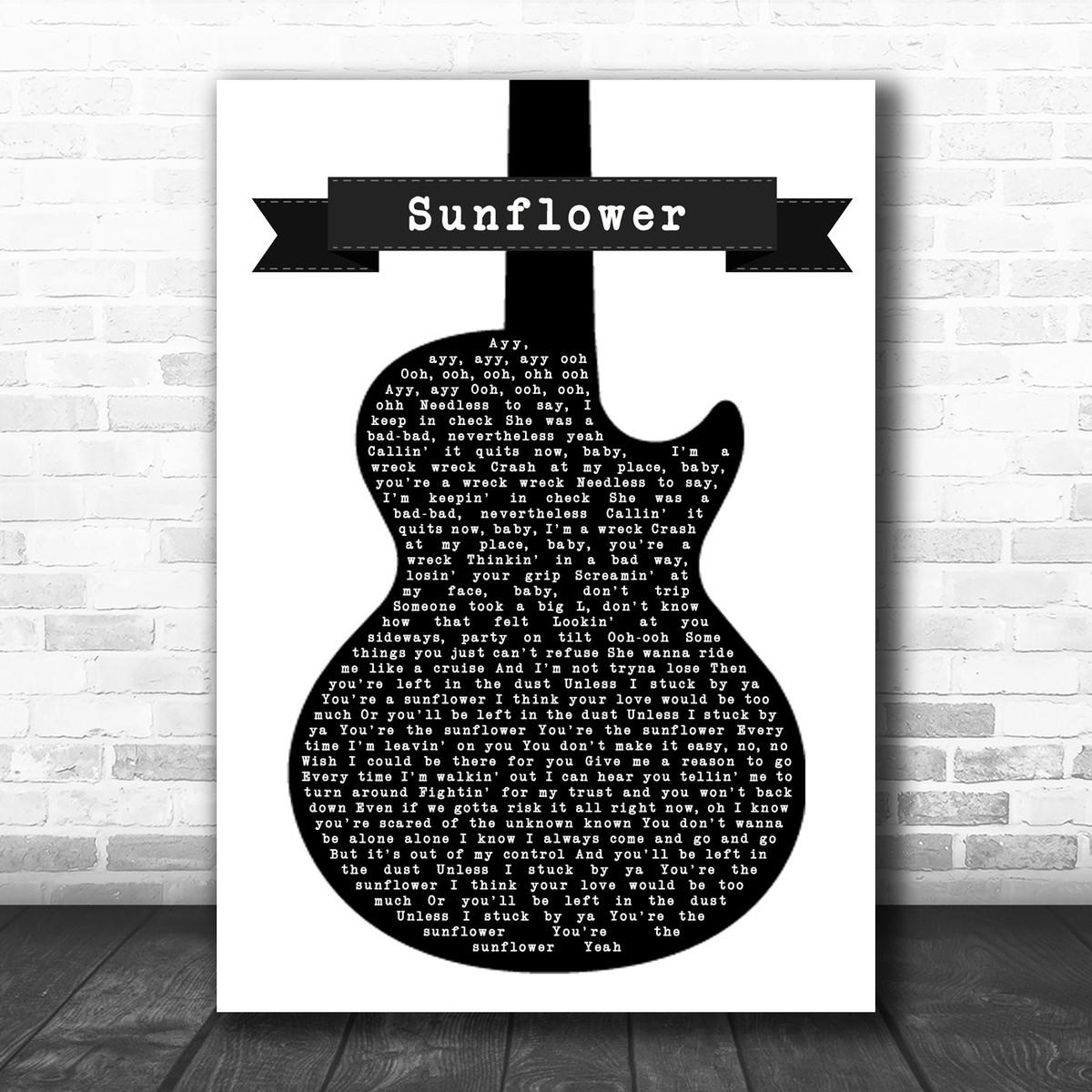 post malone swae lee sunflower black white guitar song lyric poster print