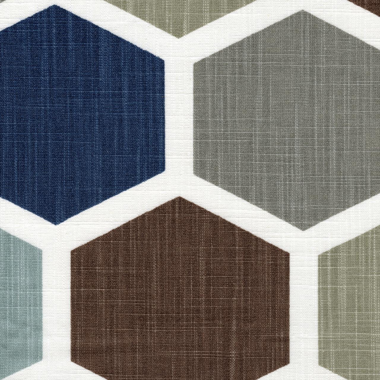 shower curtain in hexagon regal blue