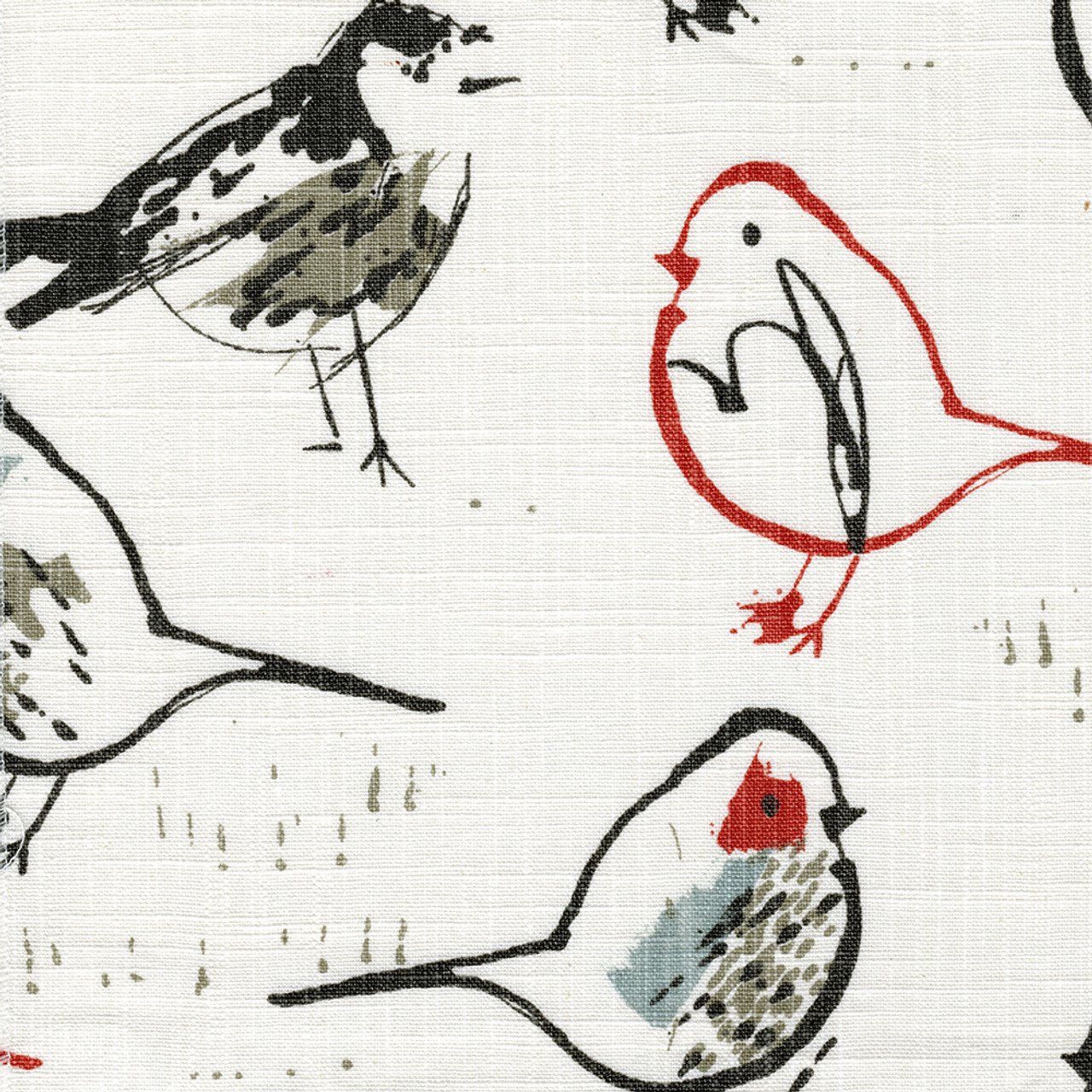 shower curtain in bird toile scarlet red chinoiserie