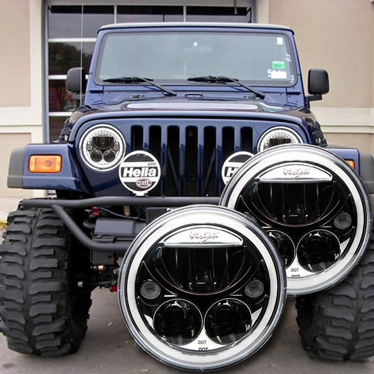 1996 2006 Jeep Wrangler TJ LED Headlight Kit BLACK
