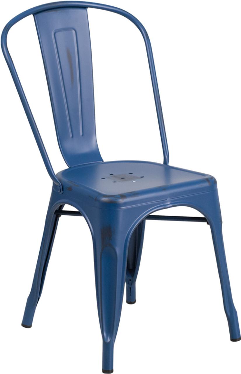 Distressed Antique Blue Metal Indoor Outdoor Stackable Chair