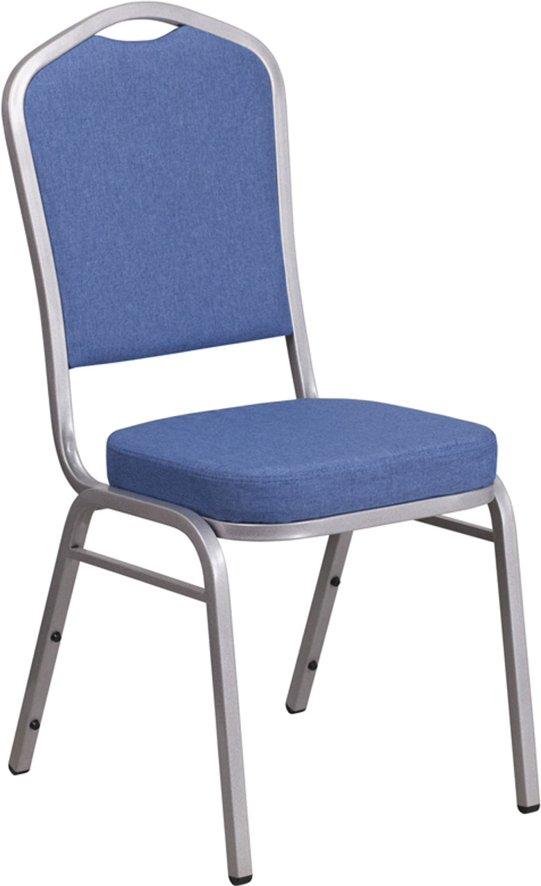 Tycoon Series Crown Back Stacking Banquet Chair In Blue Fabric Silver Frame
