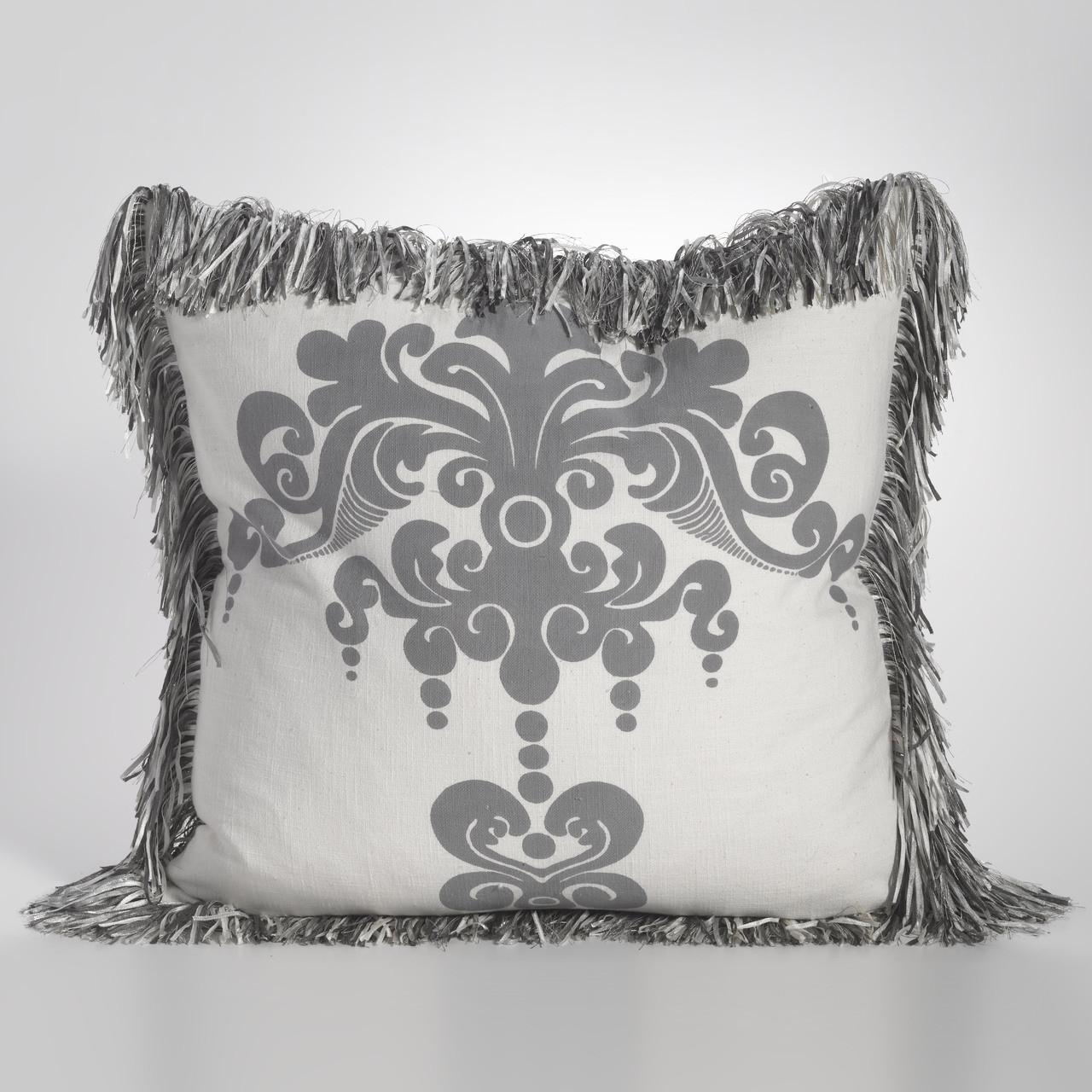 enchantique ivory dark grey stonewashed cotton decorative throw pillow with fringe 22 w x 22 l