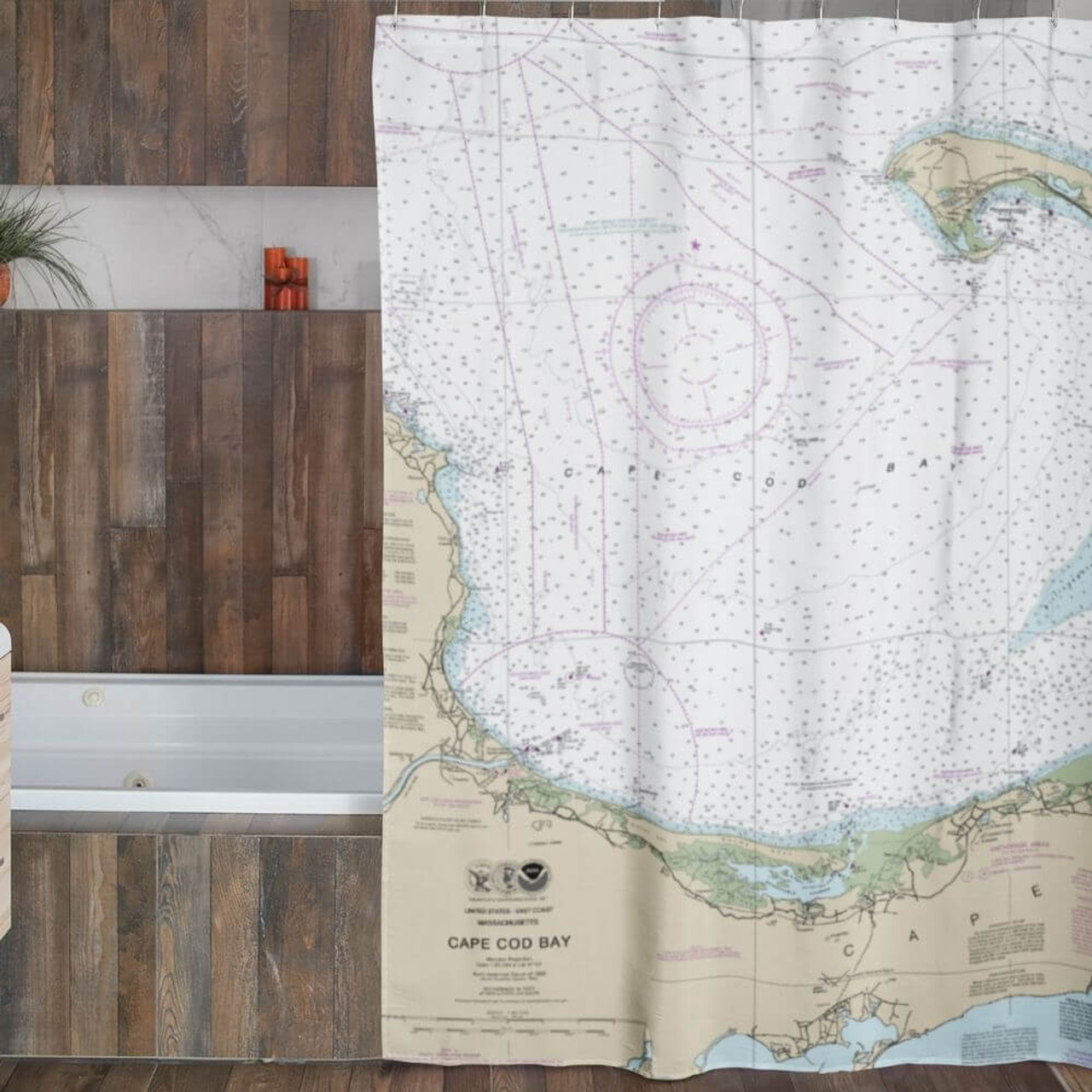 nautical chart shower curtain over 200 locations
