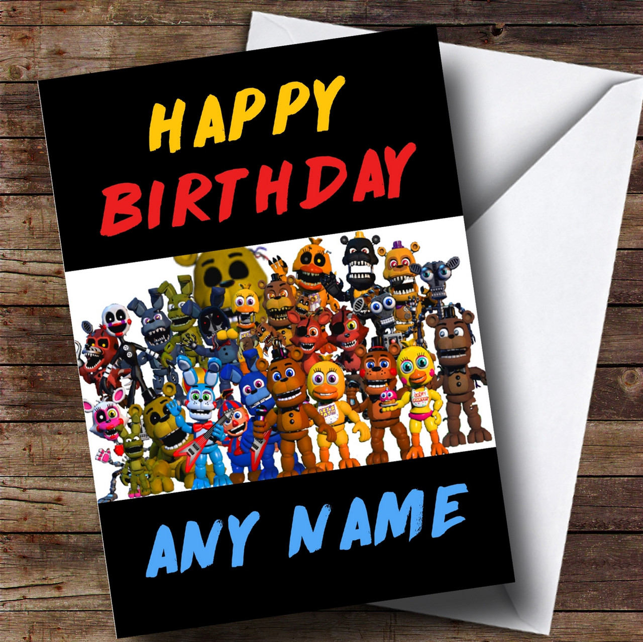 personalized five nights at freddy s fnaf all characters childrens birthday card