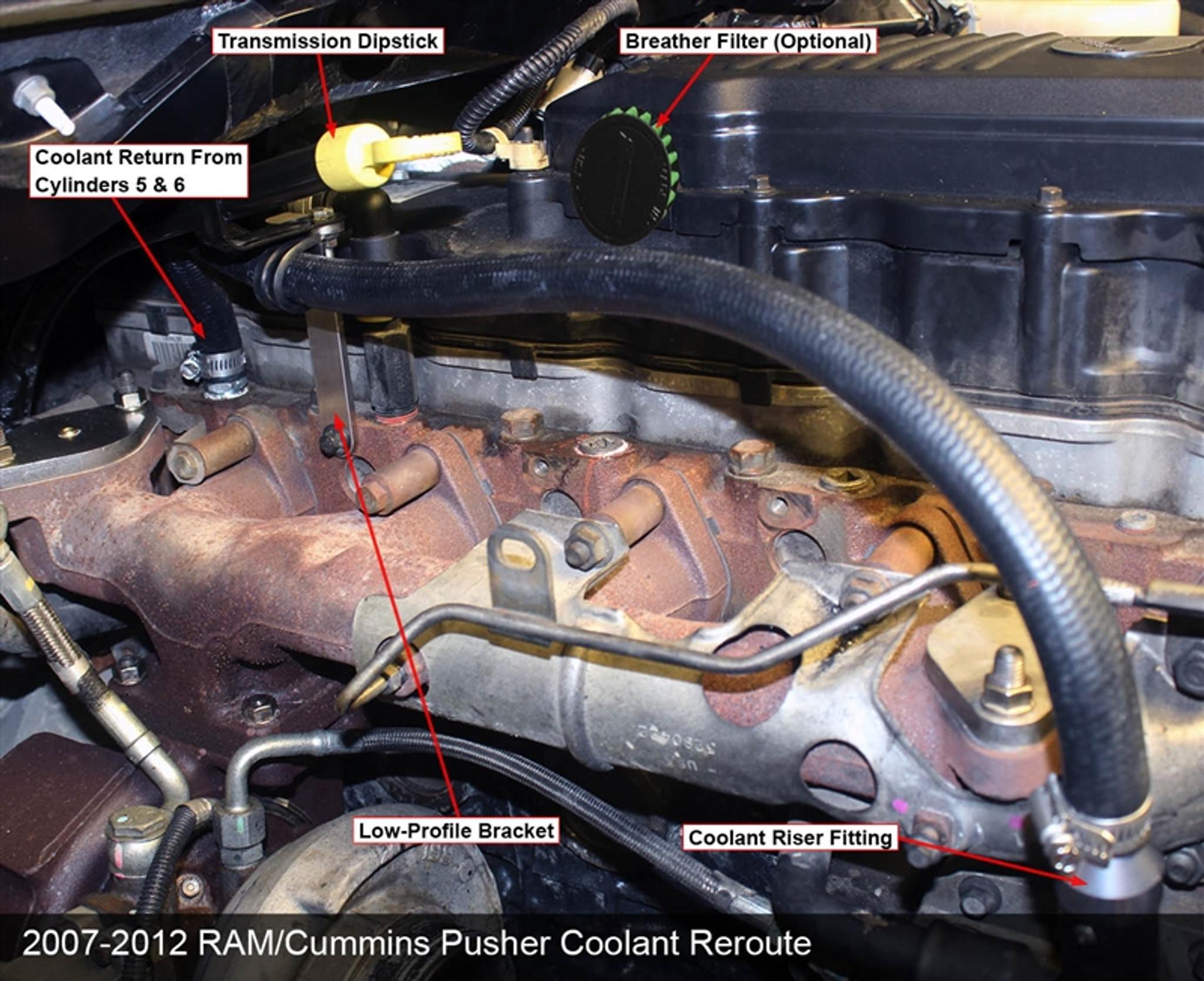 pusher coolant reroute kit for 2007 2012 dodge 6 7l cummins trucks