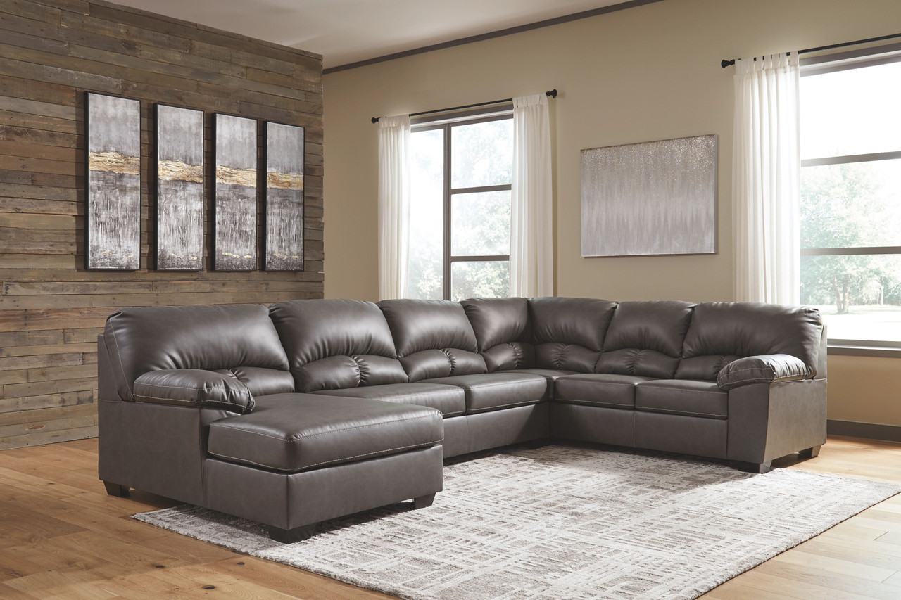aberton gray 3 piece sectional with chaise