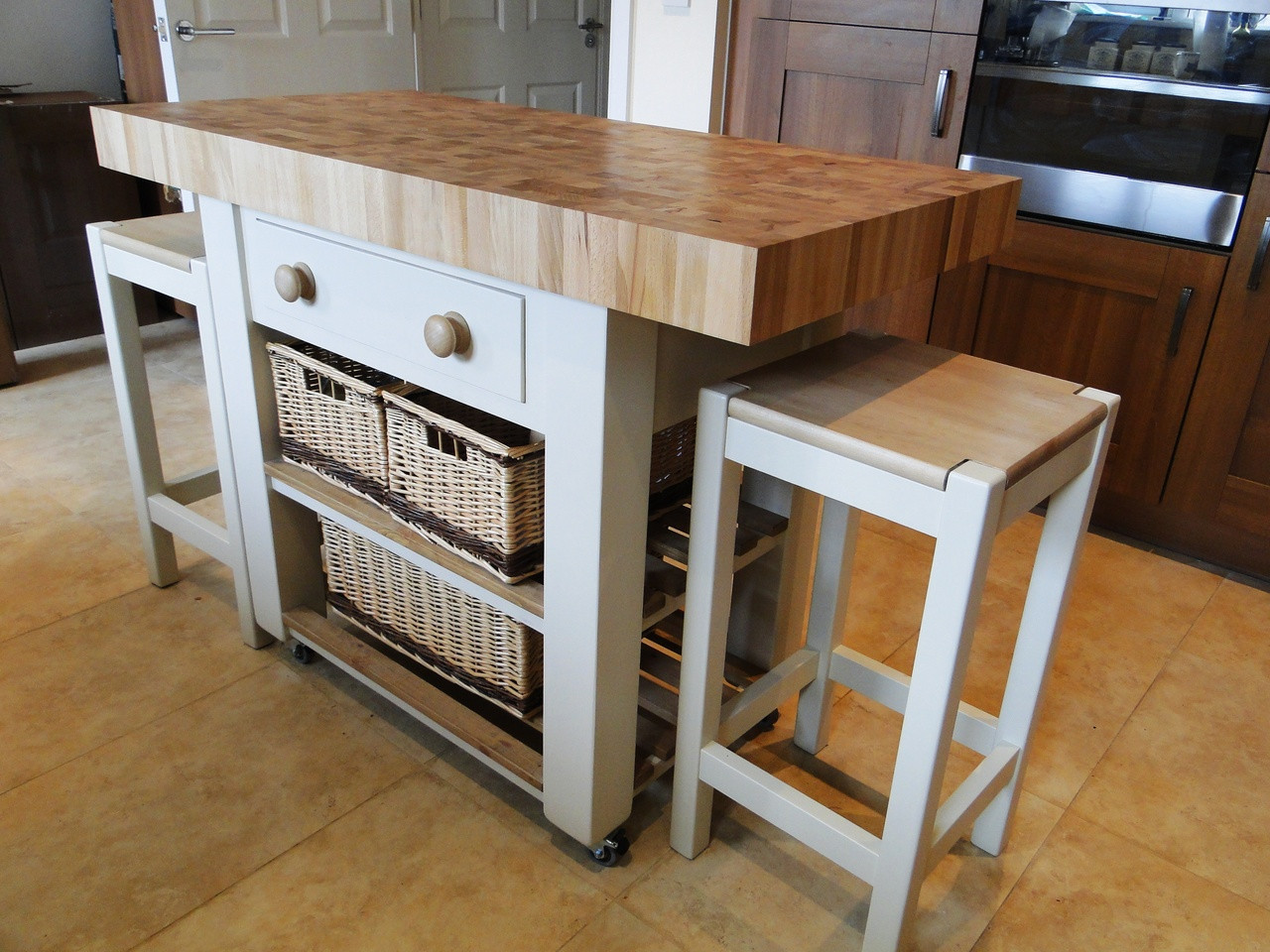 butchers block kitchen island with double overhang with 2 high stools 120cm x 60cm end grain beech