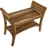 Ecodecors Earthyteak Symmetry 29 Inch Teak Shower Bench With Shelf And Ergonomic Liftaide Arms