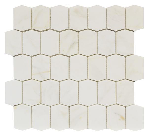 calacatta gold elongated hexagon honed mosaic