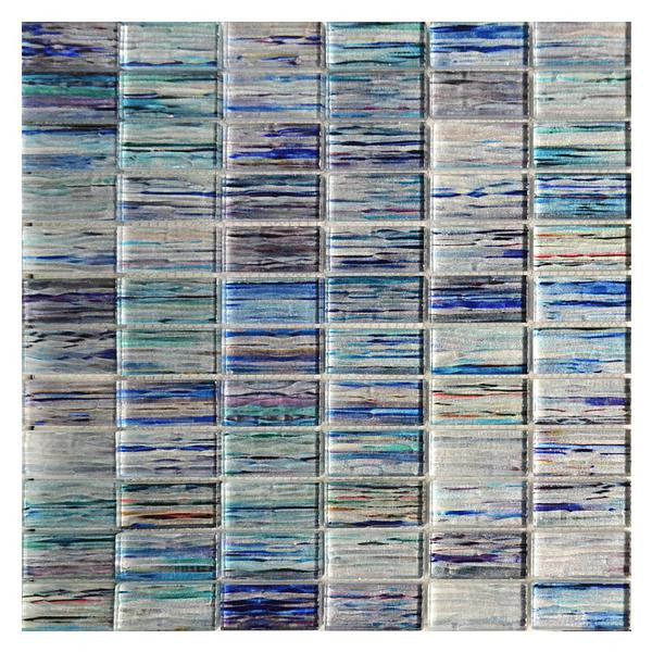 turquoise blue blend stacked glass mosaic 12x12